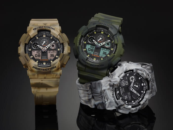 G-Shock GA-100MM Marble Edition Camouflage Watches