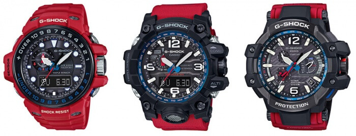 G-Shock Master of G Solid Red Series: GWN-1000RD-4A GWG-1000RD-4A GPW-1000RD-4A