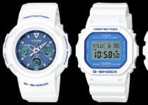 G-Shock White and Light Blue Series AWG-M100SWB-7AJF AWG-M510SWB-7AJF DW-5600WB-7JF GA-110WB-7AJF