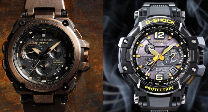 G-Shock GPW-1000VFC Silver Aged IP and MTG-G1000AR Suken Treasure Rose Gold Aged IP