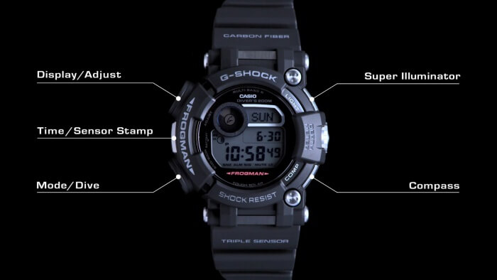 G-Shock Frogman GWF-D1000 Watch Buttons