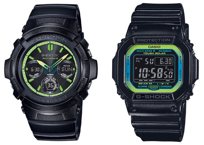G-Shock AWG-M100SLY-1AJF GW-M5610LY-1JF Lime Green Accent Series