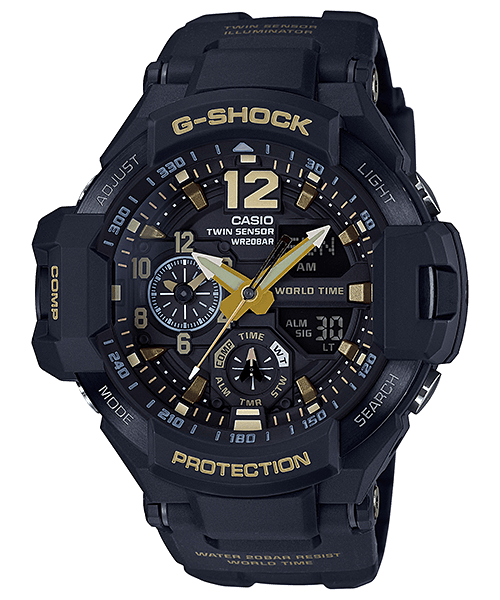 G-Shock Gravitymaster GA-1100GB-1A Black and Gold