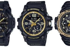 G-Shock GA-1100GB-1A, GG-1000GB-1A, GN-1000GB-1A: Black and Gold Master of G Twin Sensor Series