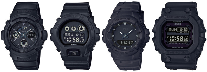G-Shock Basic Black Series GXW-56BB-1JF, AW-591BB-1AJF, DW-6900BB-1JF, G-100BB-1AJF