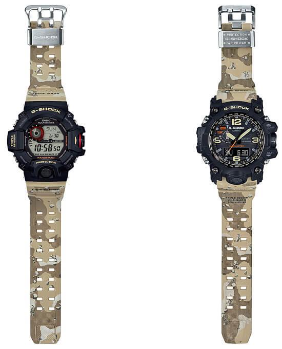 G-Shock Master In Desert Camouflage Rangeman GW-9400DCJ-1JF and Mudmaster GWG-1000DC-1A5JF bands