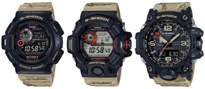 G-Shock Master In Desert Camouflage Mudman GW-9300DC-1J Rangeman GW-9400DCJ-1JF Mudmaster GWG-1000DC-1A5JF Master of G Series
