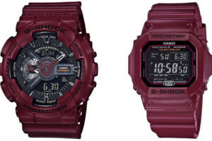 G-Shock Bordeaux Color Series: GA-110EW-4AJF & GW-M5610EW-4JF
