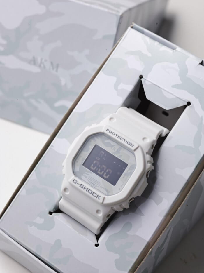 AKM 10th Anniversary x G-Shock DW-5600E White Camouflage Box