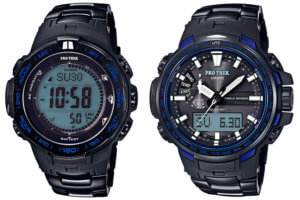 Casio Pro Trek PRW-3100YT-1JF and RW-6100YT-1BJF Blue Moment Series with Titanium Metal Band