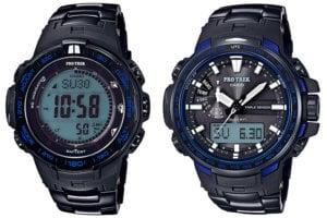 Casio Pro Trek PRW-3100YT-1JF and RW-6100YT-1BJF Blue Moment Series with Titanium Metal Band