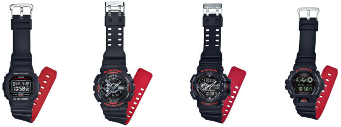G-Shock Black and Red Series Bands DW-5600HR-1JF GW-6900HR-1JF GA-110HR-1AJF GA-400HR-1AJF