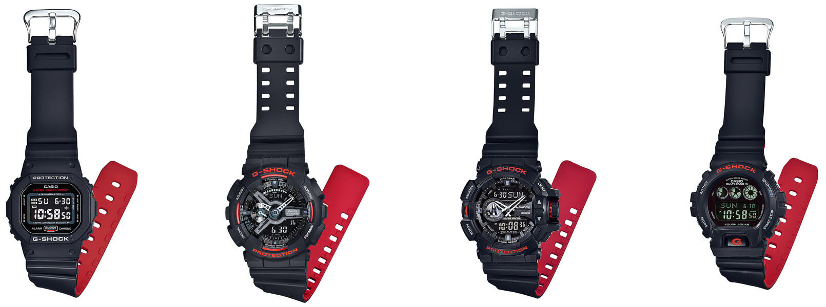G Shock Black And Red Heritage Layered Band Series G Central G