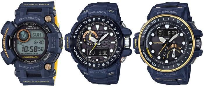 G-Shock Master in Navy Blue Frogman GWF-D1000NV-2JF Gulfmaster GWN-1000NV-2AJF GWN-Q1000NV-2AJF