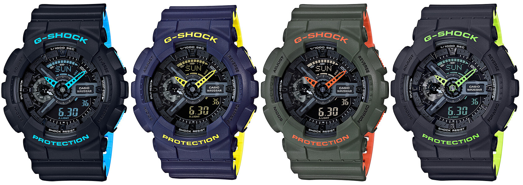 81d5f8050a8 G-Shock GA-110LN Layered Neon Color GA-110LN-1A GA-. Casio announced four  new watches for a ...