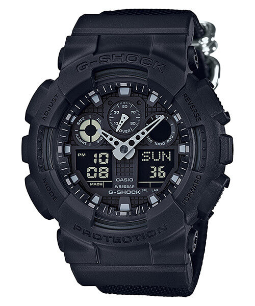 G-Shock Military Basic Black GA-100BBN-1A with Cordura Nylon Band