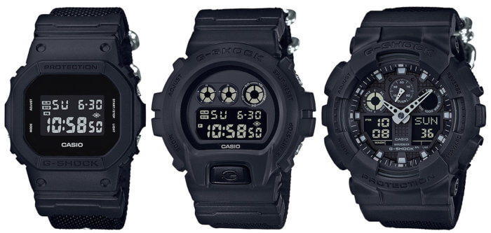 G-SHOCK DW-5600BBN-1JF DW-6900BBN-1JF GA-100BBN-1AJF MILITARY BASIC BLACK WITH CORDURA NYLON BANDS