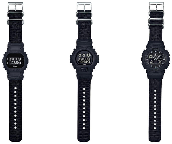 G-SHOCK MILITARY BASIC BLACK WITH CORDURA NYLON BANDS