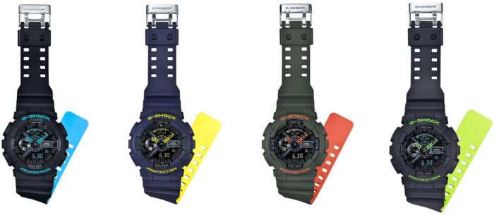 G-Shock Layered Neon Color Bands GA-110LN-1A GA-110LN-2A GA-110LN-3A GA-110LN-8A