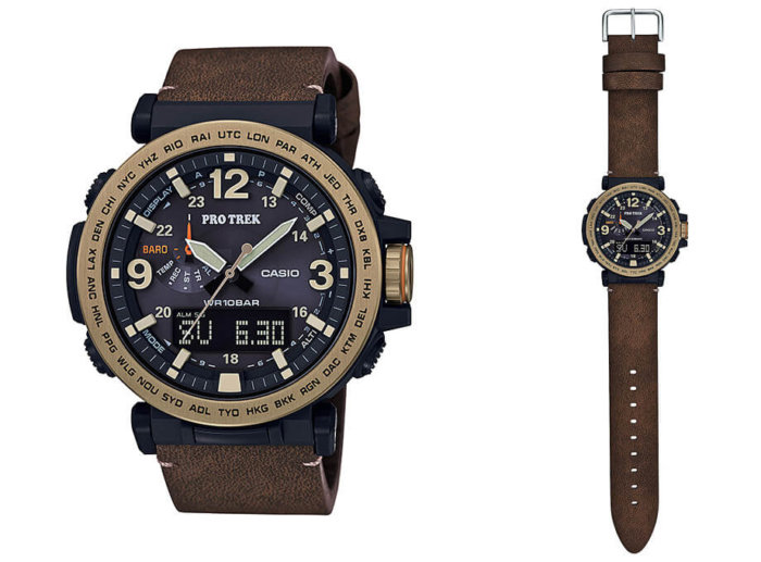Casio Pro Trek PRG-600YL-5JF with Synthetic Leather Band and Gold IP