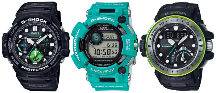 G-Shock Master In Marine Blue Frogman GWF-D1000MB-3 and Gulfmaster GWN-Q1000MB-1A GN-1000MB-1A