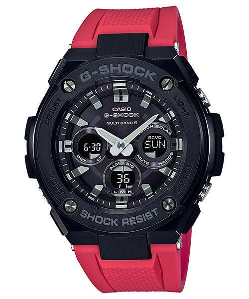 G-Shock G-STEEL GST-W300G-1A4 Black and Red Mid-Size