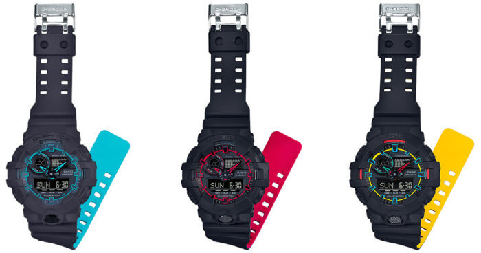 G-Shock GA-700SE-1A2 GA-700SE-1A4JF GA-700SE-1A9JF Layered Neon Colors Bands