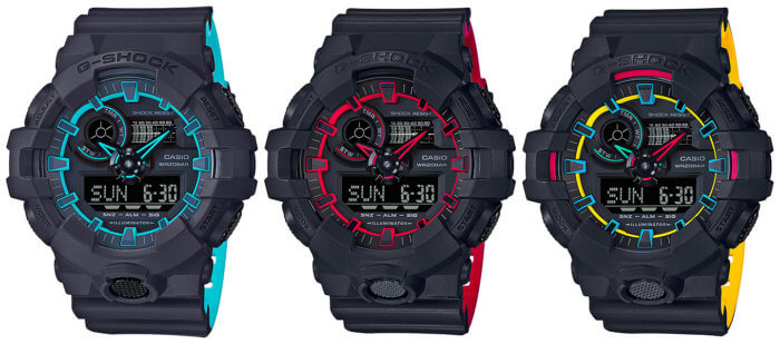G-Shock GA-700SE-1A2 GA-700SE-1A4JF GA-700SE-1A9JF Layered Neon Colors