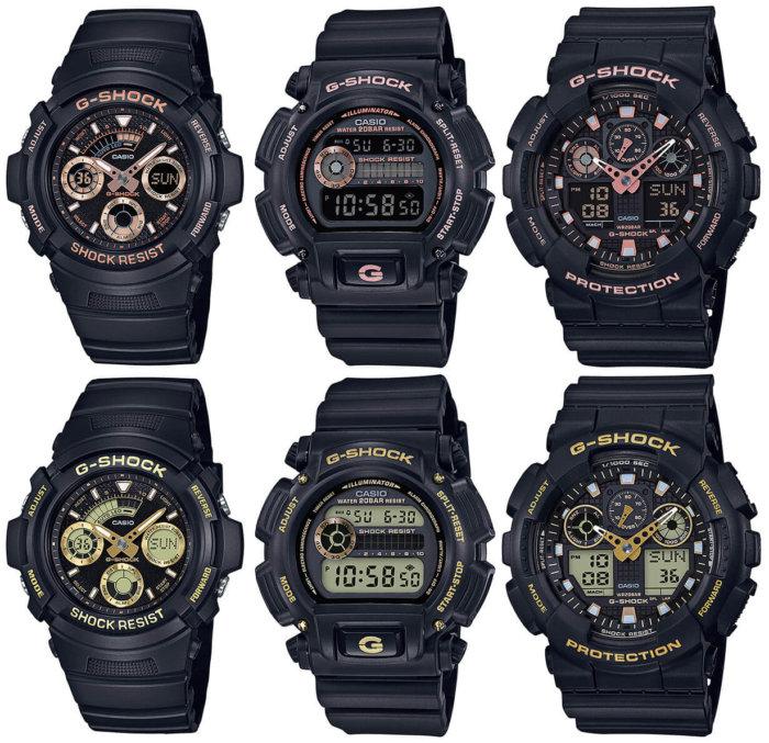 G-Shock GBX Black and Rose/Rose Gold AW-591GBX-1A4JF AW-591GBX-1A9JF DW-9052GBX-1A4JF DW-9052GBX-1A9JF GA-100GBX-1A4JF GA-100GBX-1A9JF