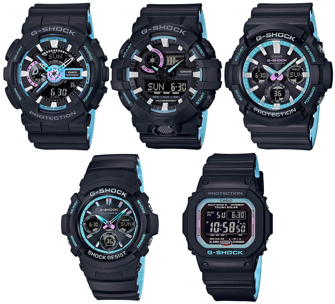 b51bb2c2e G-Shock Pearl Blue Neon Accent Collection – G-Central G-Shock Watch ...