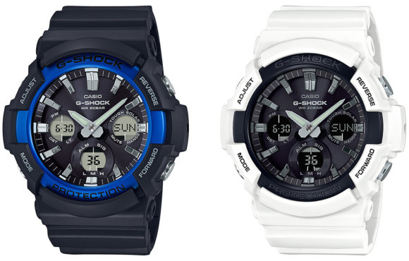G-Shock GAS-100B-1A2 and GAS-100B-7A Tough Solar Black/Blue White/Black