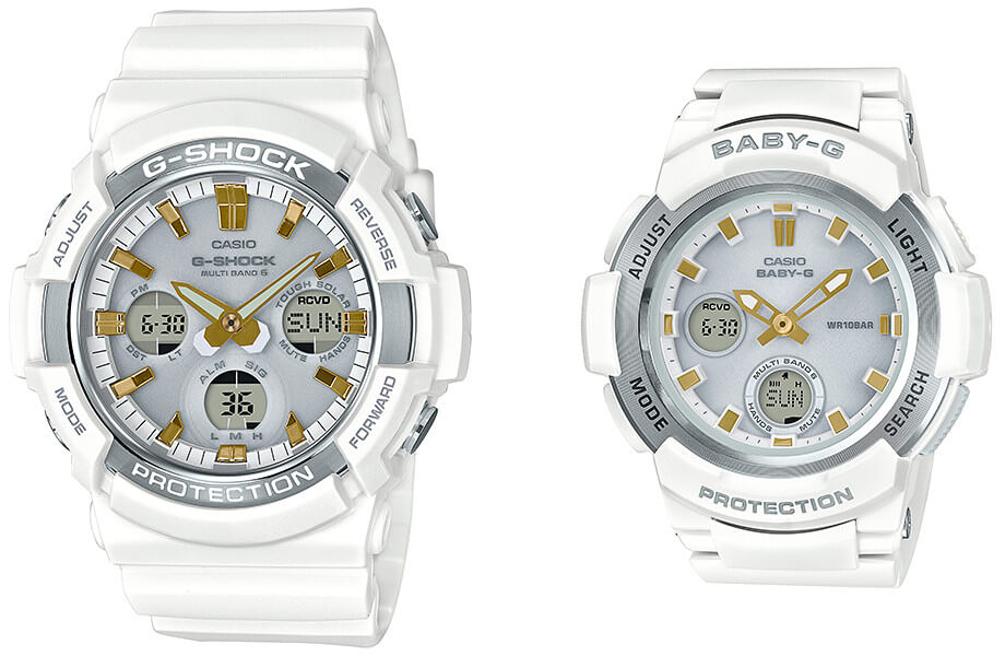 G-Shock GAW-100GA-7AJF and Baby-G BGA-2100GA-7AJF White and Gold