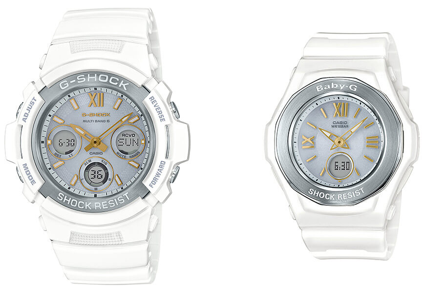 G-Shock AWG-M100SGA-7AJF and Baby-G BGA-1050GA-7BJF White and Gold
