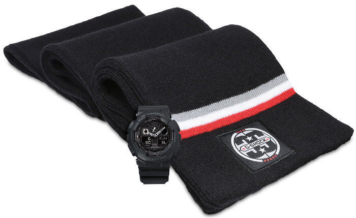 G-Shock GA100-1A1SCF Gift Set with Scarf