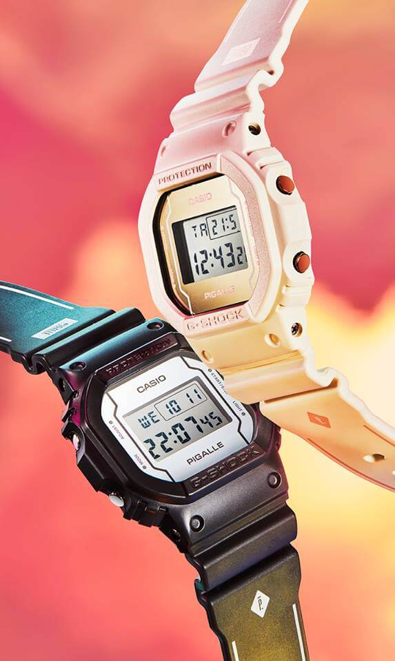 Pigalle x G-Shock DW-5600 Black and White Watches 2017 DW-5600PGB-1ER DW-5600PGW-7ER