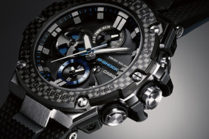G-Shock G-STEEL GST-B100XA-1A Silver/Black Blue with Carbon Fiber Bezel Angel View