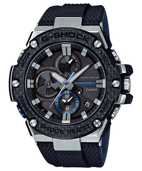 G-Shock G-STEEL GST-B100XA-1A Silver/Black Blue with Carbon Fiber Bezel