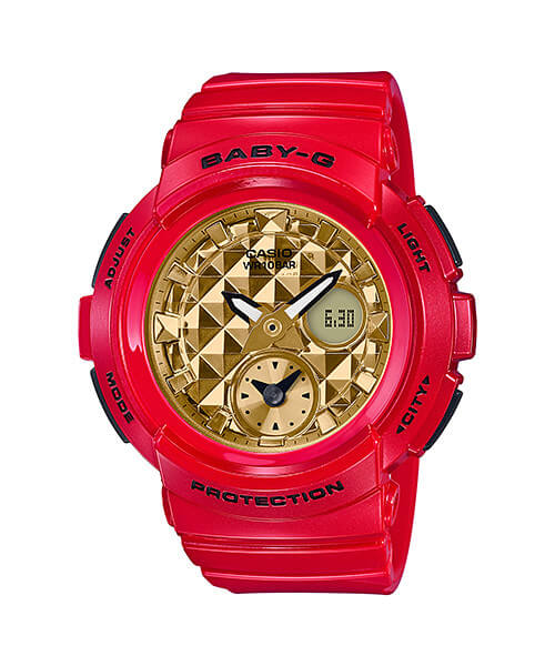G-Shock GA-100VLA-4AJF & Baby-G BGA-195VLA-4A Red and Gold