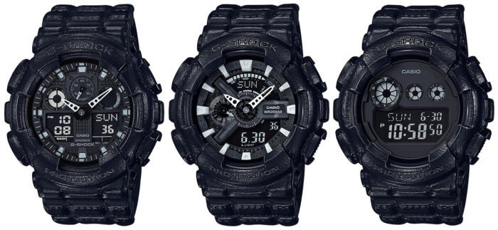 G-Shock Black Leather Texture GA-100BT-1A GA-110BT-1A GD-120BT-1