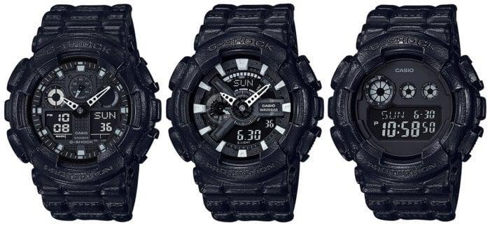 G-Shock Black Leather Texture GA-100BT-1A GA-110BT-1A GD-120BT-1