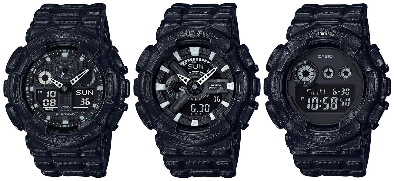 G Shock Black Out Leather Texture Series G Central G Shock Watch