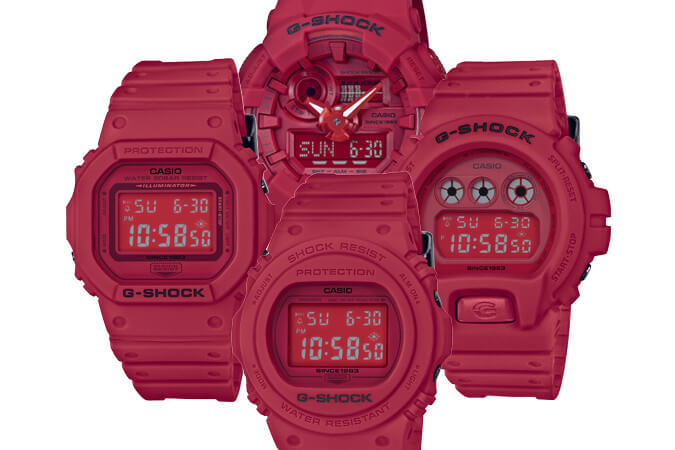 G-Shock 35th Anniversary Red Out Collection DW-5635C-4 DW-5735C-4 DW-6935C-4 GA-735C-4A