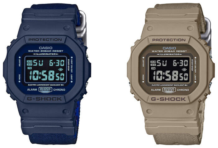 G-Shock DW-5600LU-2 and beige DW-5600LU-8