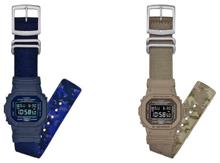 G-Shock DW-5600LU-2JF and beige DW-5600LU-8JF with reversible camouflage bands