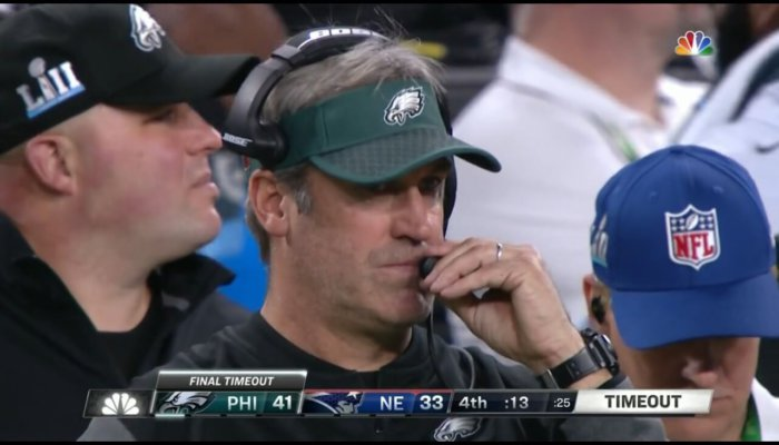 Philadelphia Eagles Head Coach Doug Pederson wears Casio G-Shock Rangeman wristwatch during Super Bowl LII
