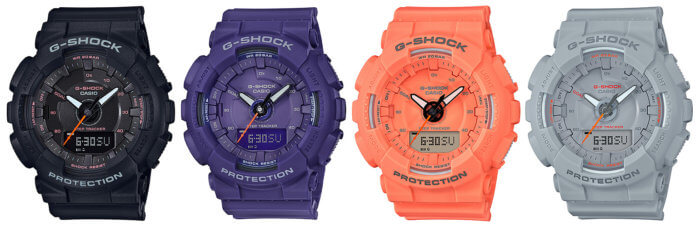 G-Shock GMA-S130VC Step Tracker in Black, Purple Orange, Gray