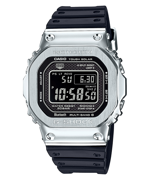 G-Shock GMW-B5000-1 Stainless Steel Case with Black Resin Bands and Reverse LCD Display
