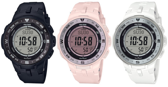 Pro Trek black PRG-330-1JF, pink PRG-330-4JF, and white PRG-330-7JF