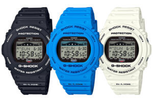 G-Shock G-LIDE GWX-5700CS with Tide Graph in Black Blue and White