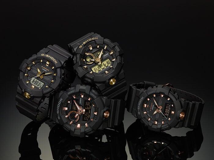 G-Shock GA-710B and GA-810B Black and Gold